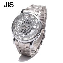 JIS de Acero Inoxidable Hueco de Lujo Men Watch Relojes de Cuarzo Mujeres Fashion Business Calendario Masculino Reloj de Pulsera de Plata de Oro
