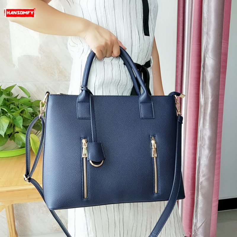 Business Women's Briefcase Female 14 Inch Laptop Portable OL Handbag Large-capacity Shoulder Bag Soft Leather Crossbody Bags