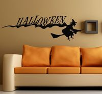 Wall Vinyl Decal Room Sticker Halloween Witch on Broom Home Interior Decor