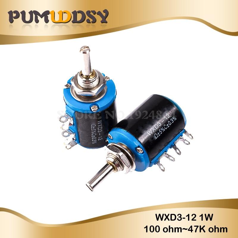 DealMux WXD3-13-2W 4mm Shaft Multiturn Rotary Wirewound Potentiometer 2.2K Ohm
