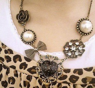FREE SHIPPING + Rose bowknot necklace USA  wholesale fashion necklace