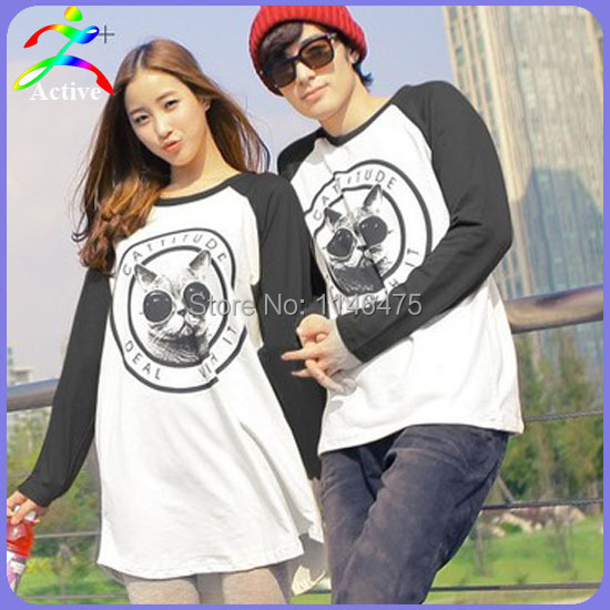 New Arrival Fall Autumn Men Women Fashion Couple Clothes Lovers Cute Korean Style Long Sleeve Couple T Shirts Free Shipping 3789