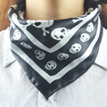 black Skull neckerchief Small Silk scarf headband Square 50*50cm Fashion Ladies Scarves Shawl Man/Boy/Women/Girls S02