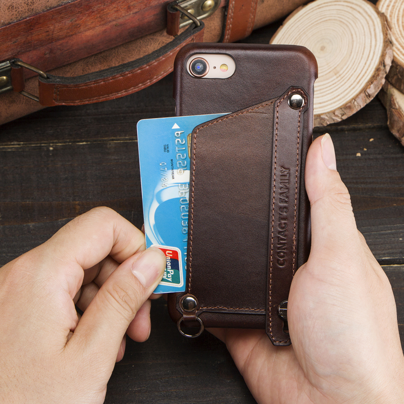 Image 2 - Crazy Horse Retro Genuine Leather Case For iPhone 7 8 iPhone Case  Card Slot Pouch Back Cover For Apple iPhone 7 8 Phone Bag CaseWallet  Cases
