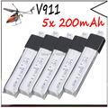 5 unids Wltoys V911 RC motor sin escobillas Helicóptero Accesorios Bolsa KV911-0005 F929 F939 (5 Unids 3.7 V 200 mAh Baterías De Litio)