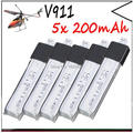 5pcs Wltoys V911 RC Helicopter brushless motor Accessories Bag KV911-0005 F929 F939 BATTERY (5Pcs 3.7V 200mAh Lithium Batteries)
