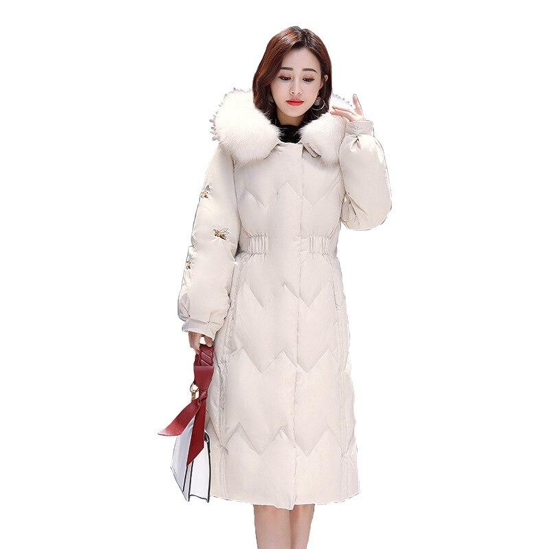 Plus Coton Mode 2018 Beige Fourrure Occasionnel Grand Vestes Vers Taille La D'hiver Le Veste Manteau Pain Femmes De Parka Chaud Coréenne Longue Bas Col TqqPrdw