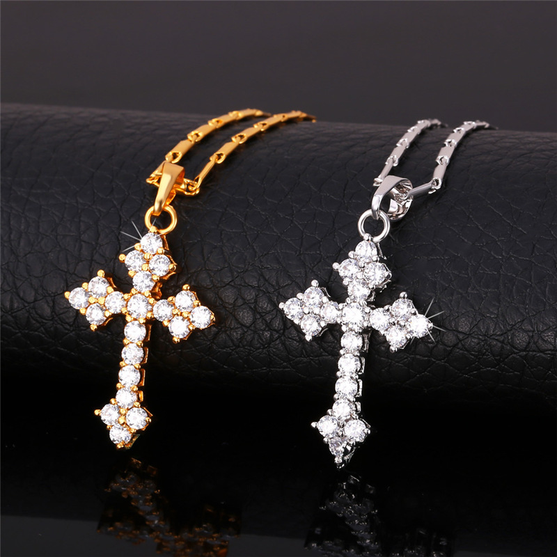 Latin Cross pendant Necklace GoldSilver Color Trendy Fashion