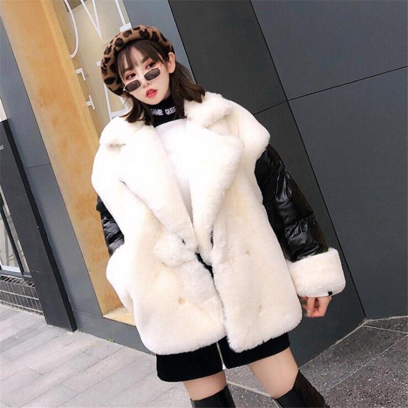 High end Women Winter Loose Imitation rabbit hair stitching women Parka Thick Warm Jacket Coat women coats Street leisure Jacket-in Parkas from Women's Clothing    3