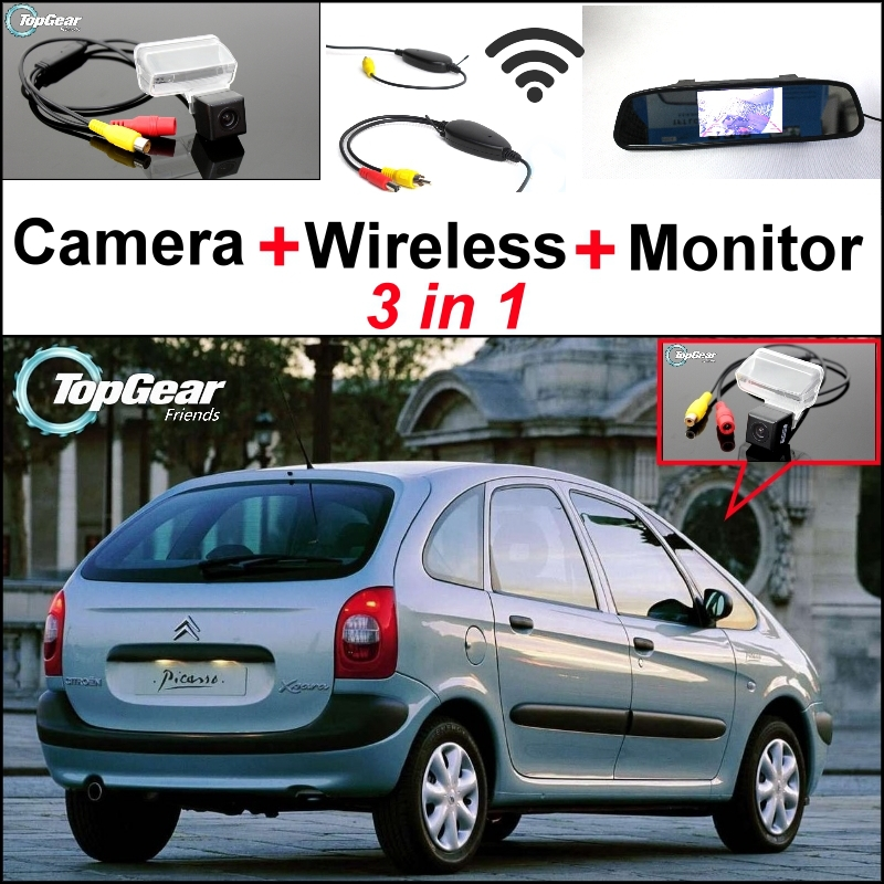 3in1 Special Rear View Camera + Wireless Receiver + Mirror Monitor Easy DIY Backup Parking System For Citroen Xsara Picasso MPV for mercedes benz ml mb w164 ml350 ml330 amg ml450 ml500 3in1 car camera wireless mirror monitor parking rear view system