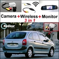3in1 Special Rear View Camera + Wireless Receiver + Mirror Monitor Easy DIY Backup Parking System For Citroen Xsara Picasso MPV