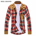 HEE GRAND 2017 New Arrival Men's Vintage Plaid Long Sleeve Splicing Patchwork Shirts For Men High Quality Cotton Shirts MCL090