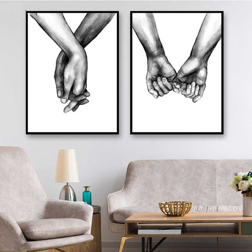 Canvas Printed Poster Home Decorative Nordic Black And White Hand In Hand Paintings Wall Artwork Pictures Living Room Modular