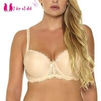 Free Shipping Bras Nylon Push Up Three Hook And Eye Women Underwear Beige Color 36DD 32DDD