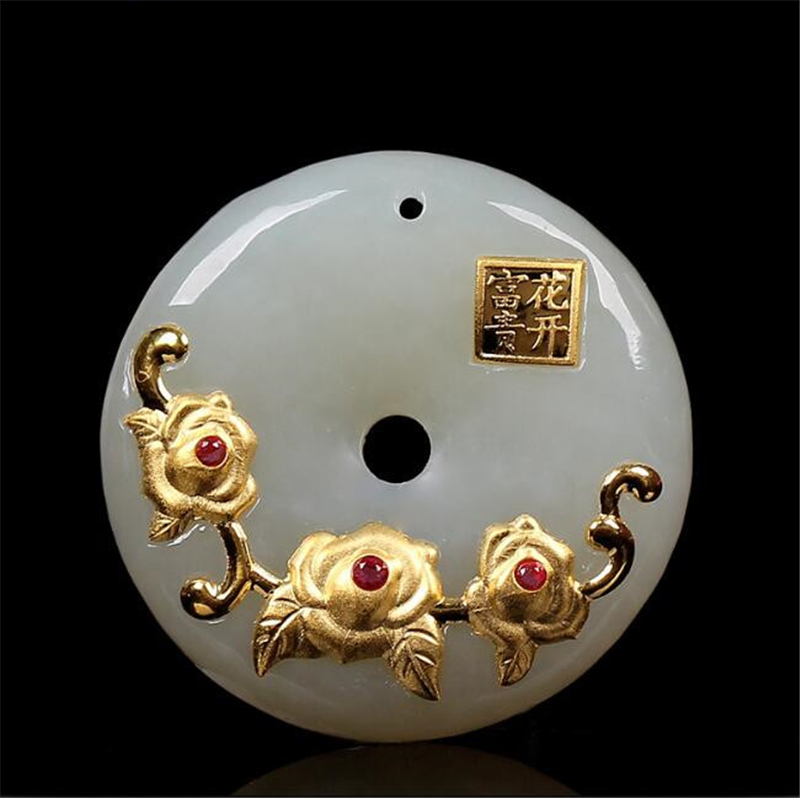 18K Gold Jade Pendant Hetian Natural Jade Flower Safety Pendant Wholesale HTJ2069 Free shipping free shipping jade