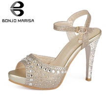BONJOMARISA Brand New Big Size 31-40 Popular Crystal Spike High Heels Non-slip Platform Shoes Woman Casual Party Summer Sandals