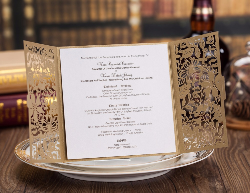 Square gold laser cut wedding invitations kits flower engagement for