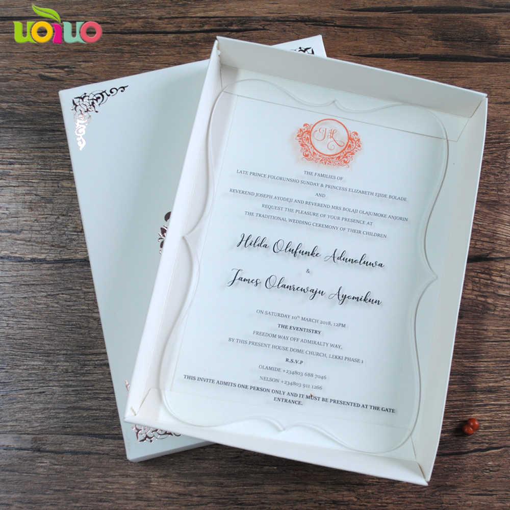 20pcs elegant personalize wedding invitation card unique glass printing invitations sample