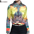2017 Autumn High Quality Silk Womens CLothing Blouse Shirt Yellow Blue Print Single Breasted Office Career Blouse Tops T6O803R