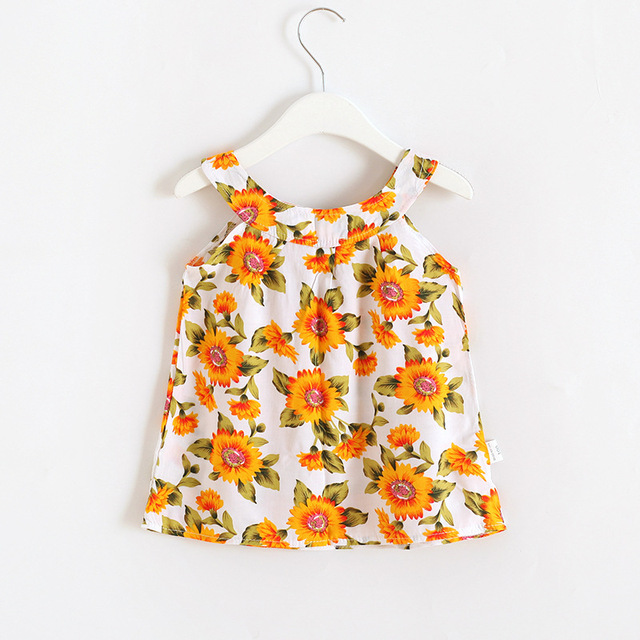 2019 Hot Summer Baby Girl Dress Sleeveless Floral Dress Small Fresh Sweet Style Kids Clothes 2-8 Years 4