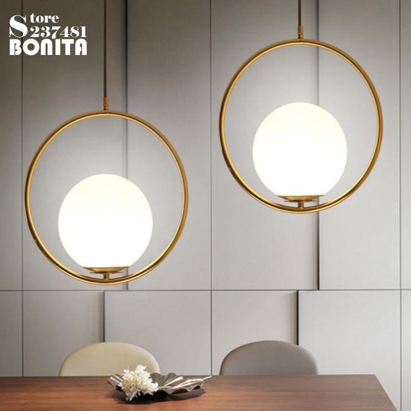 Simple Gold brass Ring pendant lighting for restaurants Milky glass ball Planet cord pendant light brass half round ball shade pendant light led vintage copper wooden lighting fixture brass wood fabric wire pendant lamp