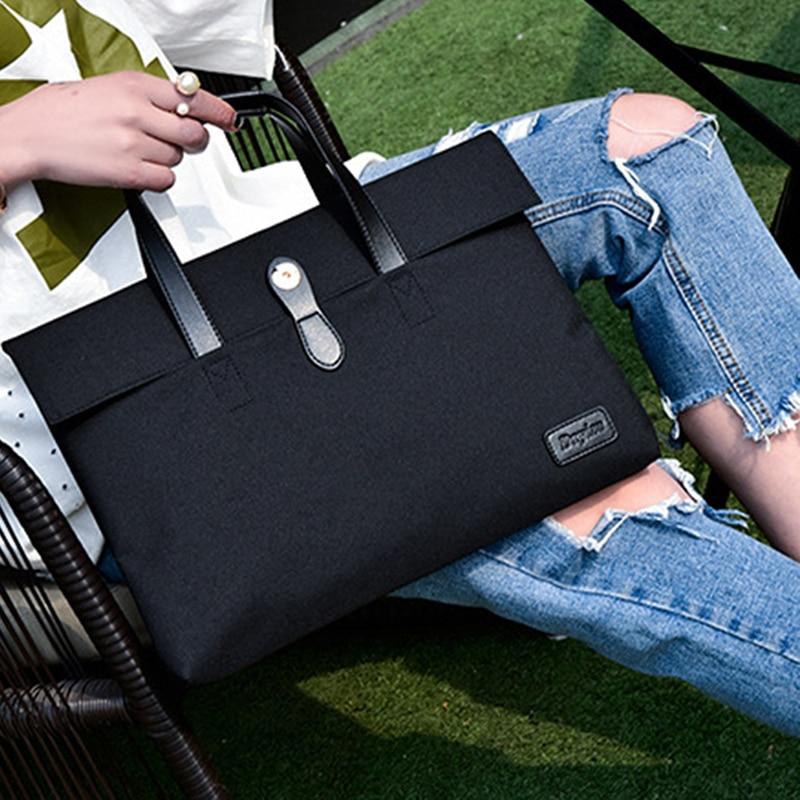 Unisex Zipper Laptop Bag Multifunction Liner Bag Computer Handbag Retractable Handle Computer Case