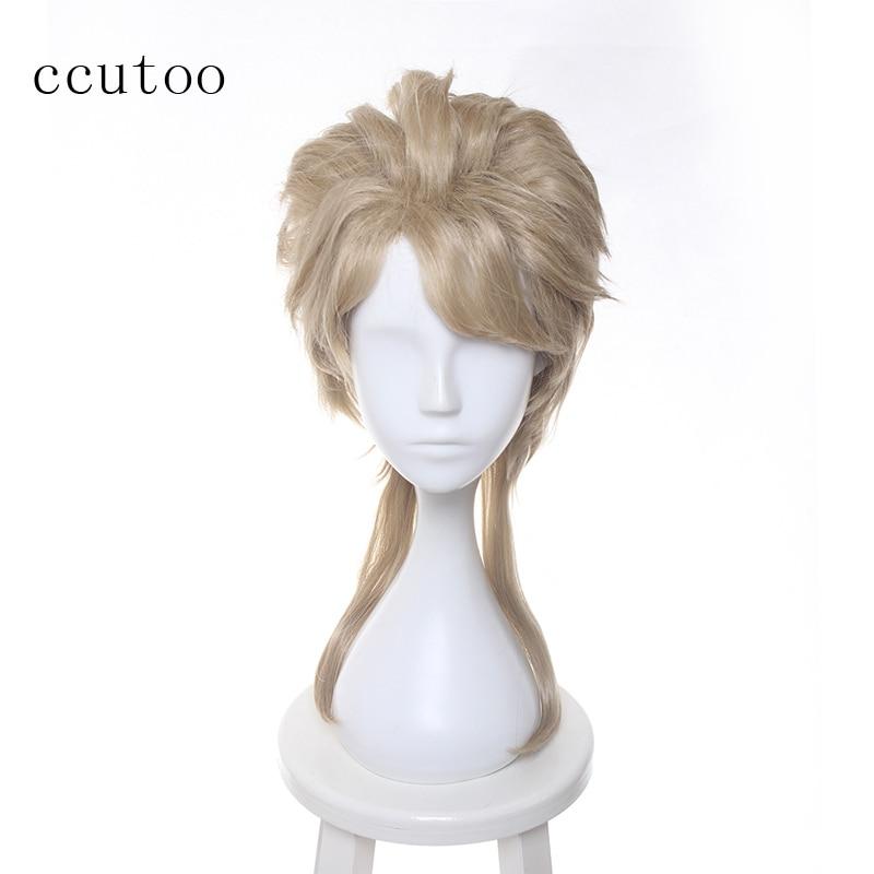 ccutoo 45cm Ξανθιά μεσαία Hairstyle Συνθετική JoJo's Bizarre Περιπέτεια Dio Brando Cosplay Πλήρης Περούκες Ανθεκτικότητα Περίπτωση Περούκα Περικοπή