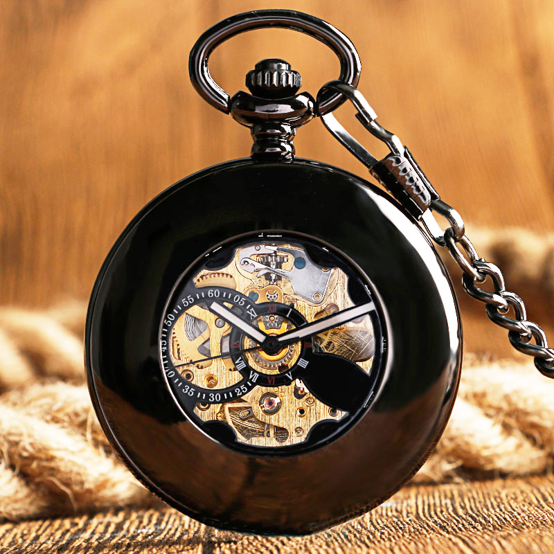 Luxury Men Women Nurse Clock Automatic Mechanical Pocket Watch Hollow Circle Smooth Case Skeleton Antqiue Fob Time Chian Gifts unique smooth case pocket watch mechanical automatic watches with pendant chain necklace men women gift relogio de bolso