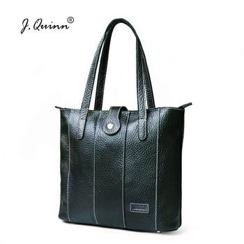 J.Quinn Genuine Leather Womens Shoulder Bags Bucket Female Lady Handbags Totes Large Zipper Bag Fashion Brand 2017