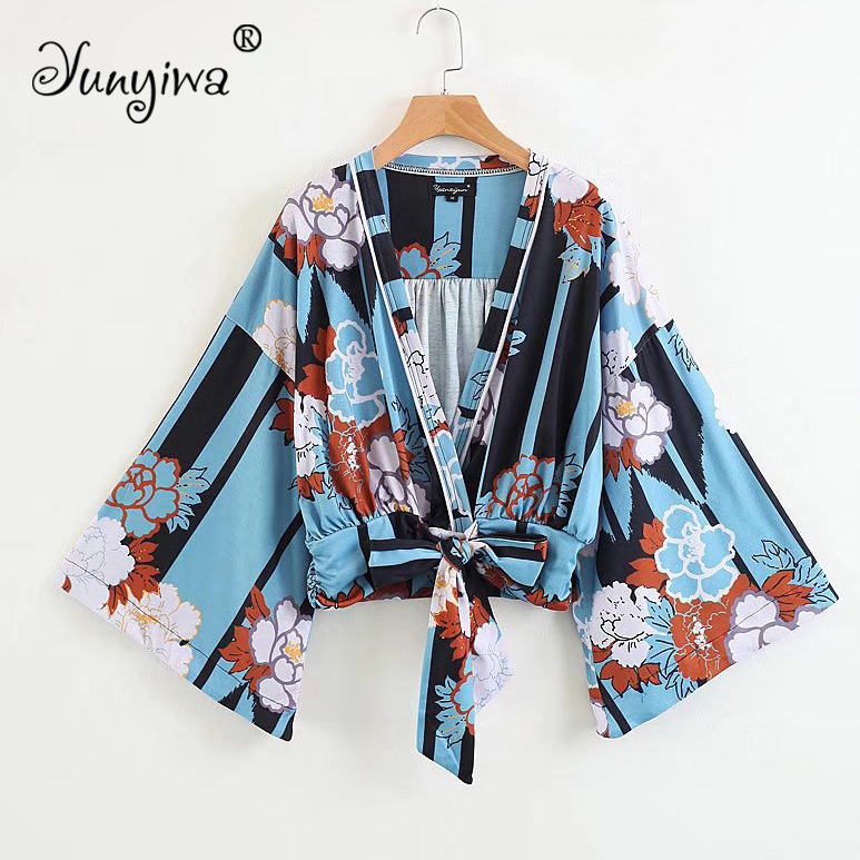 Women   Blouses     Shirts   Women's new wholesale printing lace cardigan Tops Blusas Mujer De