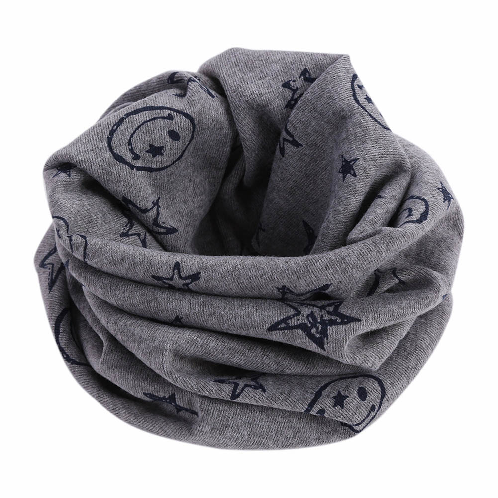 Newly Children Kids Scarf Scarves Warm Loops Neckerchief Smile Face Stars For Winter M99