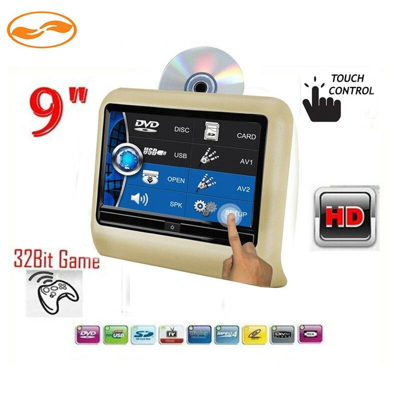 9 Touch подголовник автомобиля dvd плеер HD Экран 800*480 игры DVD USB SD ИК передатчик Портативный подголовник мониторы