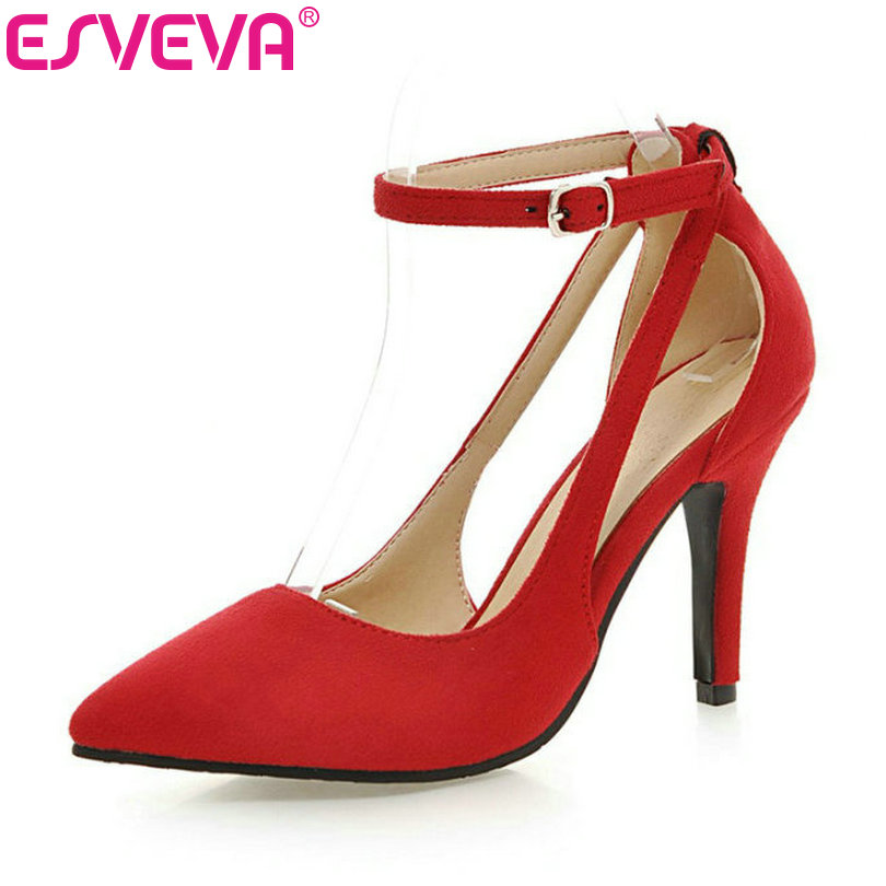 ESVEVA Sexy Flock Thin High Heel Women Pumps Summer Party Pointed Toe Woman Pumps Ankle Strap Ladies Wedding Shoe Size 34-43 2017 new summer women flock party pumps high heeled shoes thin heel fashion pointed toe high quality mature low uppers yc268