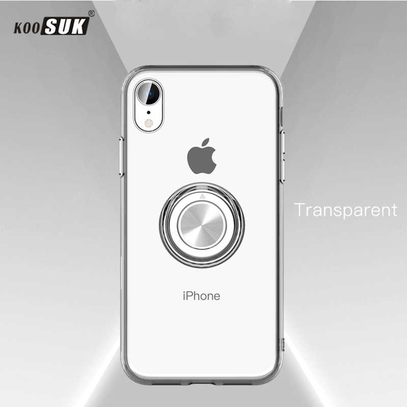 For iPhone X Case Cover Luxury Transparent Soft Silicone TPU Protection Ring Magnetism sFor iPhone XR XS MAX 6 6S 7 8 Plus Cases
