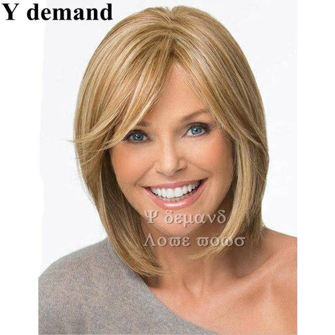 Blond średniej Długości Fryzury Peruki Dla Kobiet Prosto