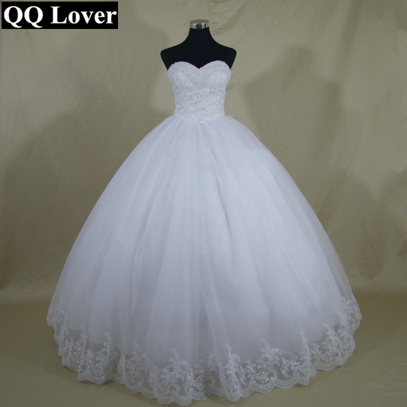 QQ Lover 2018 Ultime Bling Perle Di Lusso Abito Da Sposa Plus Size Custom Made