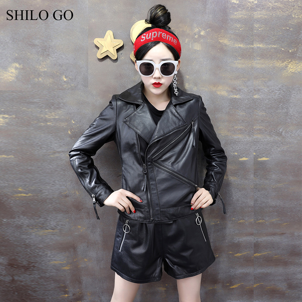 SHILO GO Leather Jacket Womens Spring Fashion sheepskin genuine leather coat lapel collar zipper black slim locomotive jacket
