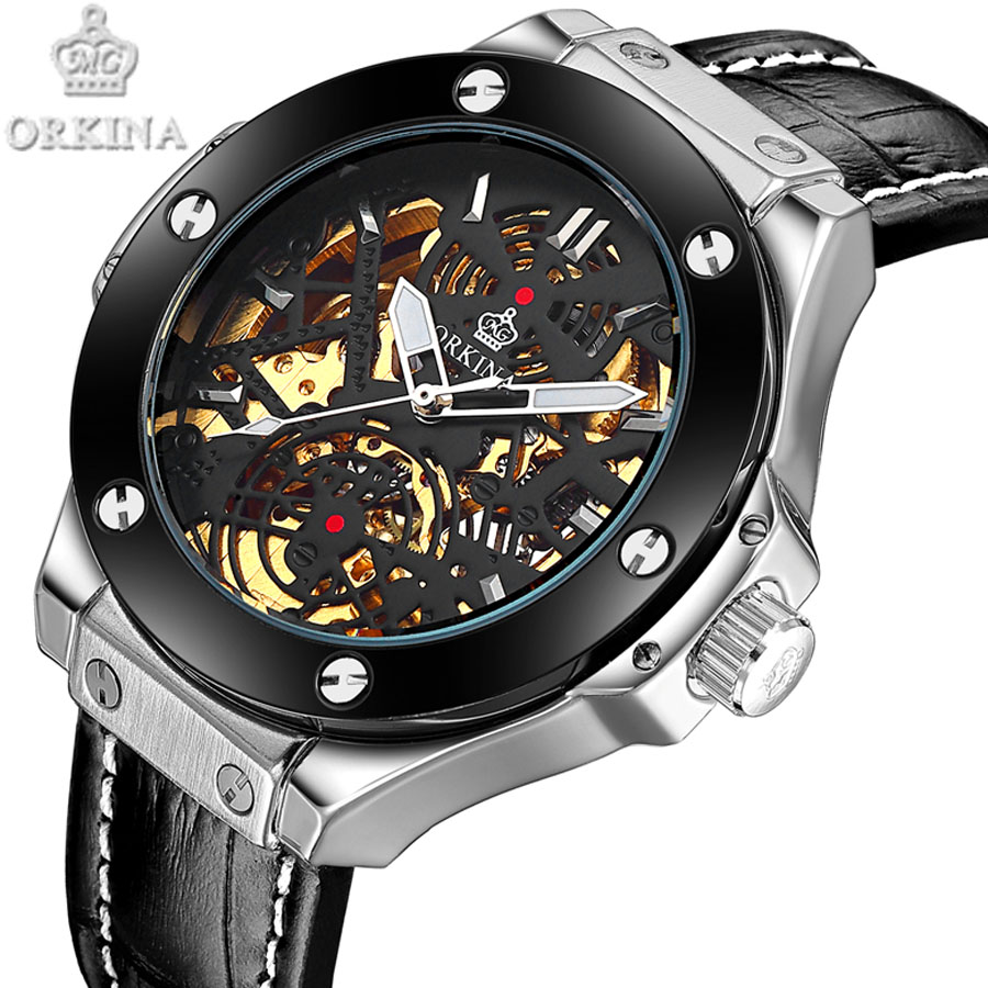 Top Brand Leather Automatic Mechanical Watches Sports waterproof Men  Luxury Transparent Hollow Skeleton  relogio 2017