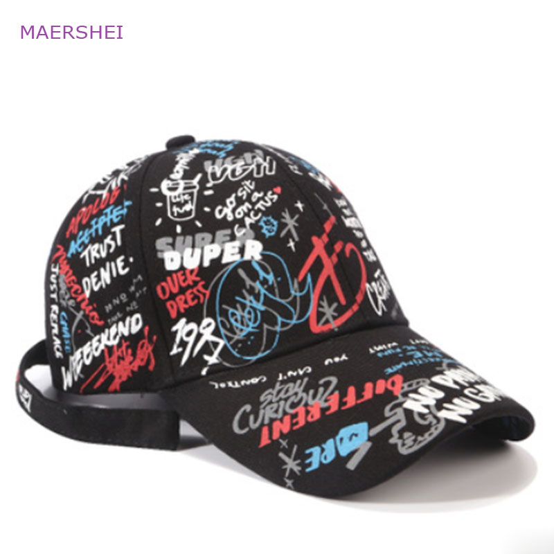 MAERSHEI new graffiti printing   baseball     cap   fashion trend   cap   long tail hip hop hat Sanpback hat