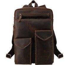 Genuine Leather Backpack Men 14 Inch Laptop Bag Pack Mens Mini for Teenager Boys Business Vintage Travel Women Big