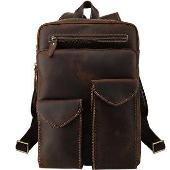 Genuine Leather Backpack Men 14 Inch Laptop Bag Pack Men's Mini Backpack for Teenager Boys Business Vintage Travel Women Big Bag