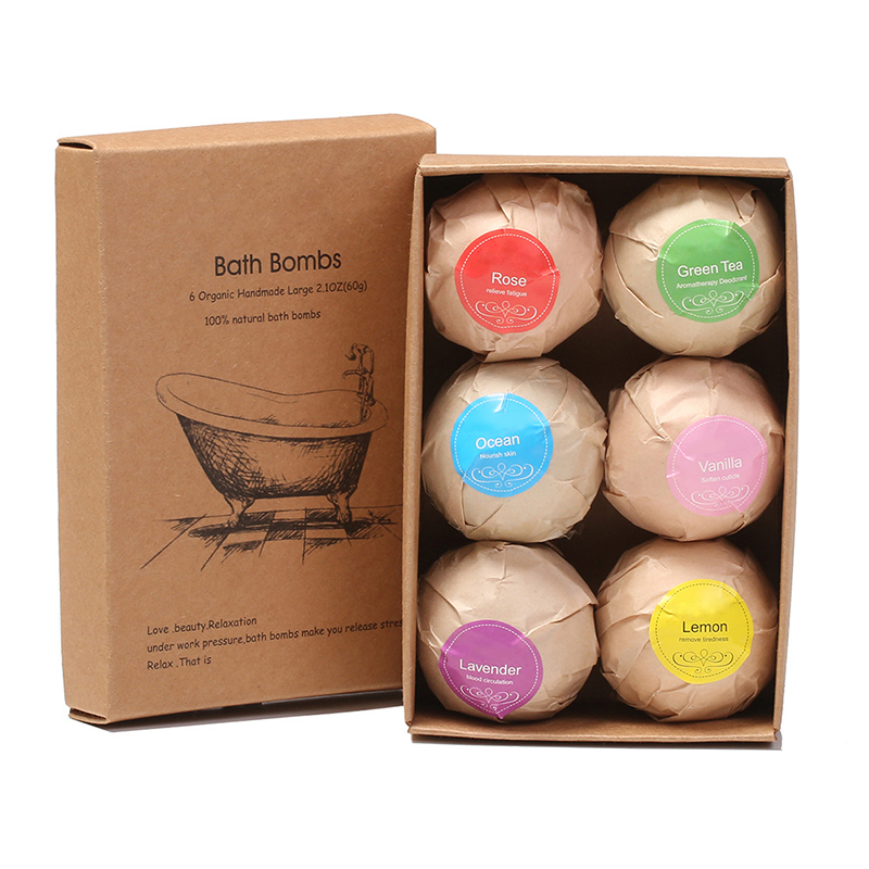 6pcs/box Natural Bath Bombs Bubble Bath Products Essential Oil Handmade SPA Stress Relief Exfoliating Mint Lavender Rose Flavor