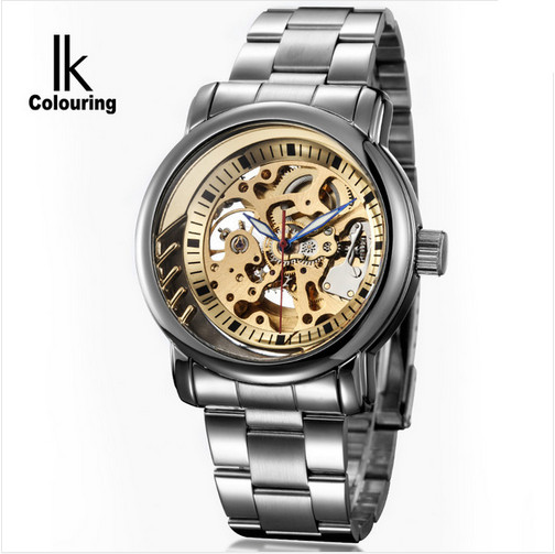Luxury Brand IK Colouring Mens Watches Stainless Steel Brand Golden Hollow Skeleton Male Auto Mechanical Wristwatches Clock Men ik colouring gold skeleton mechanical hand wind watches men luxury brand business dress silver steel watch male clock relogio