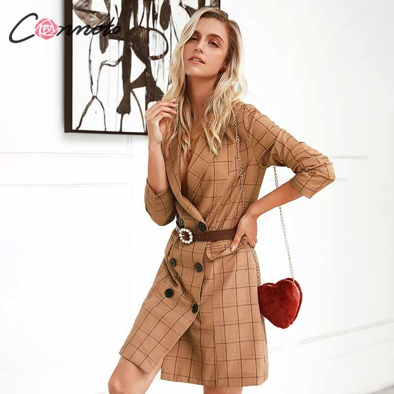 Image 4 - Conmoto Vintage Khaki Plaid Women Blazer Dress 2019 Autumn Winter Slim Long Blazer Check Office Blazer Jacket Feminino OuterwearBlazers   -