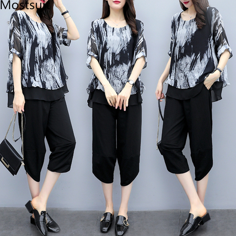 L-5xl Plu Size Summer Printed Vintage Two Piece Sets Women Short Sleeve Tops And Pants Suits Casual Office Elegant Korean Sets 21