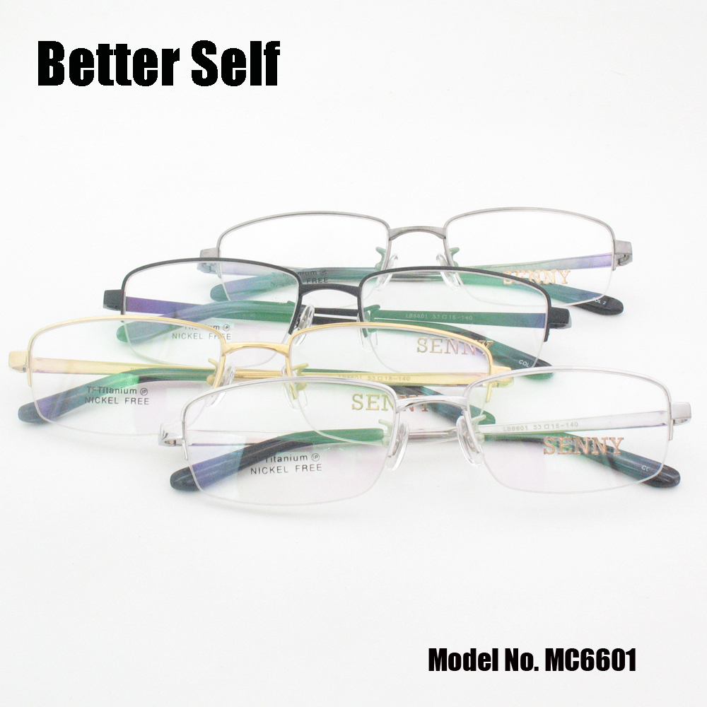 Better Self MC6601 Half Rim Optical Eyewear Rectangle Spectacles Quality Pure Titanium Glasses Frame Men in Men 39 s Eyewear Frames from Apparel Accessories