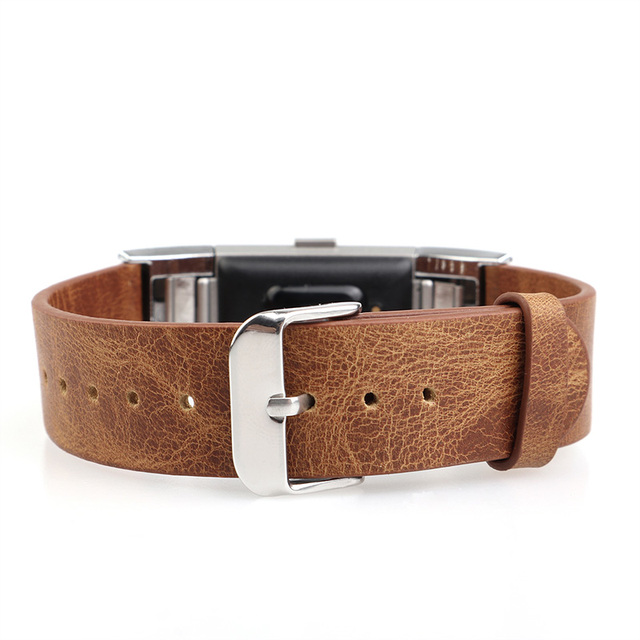 Crazy-horse Genuine Leather Replacement band for fitbit charge 2 with Secure Metal Clasp Buckle Sport  Dark brown