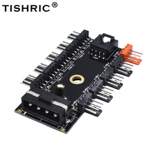 TISHRIC Newest Black PC 1 to 10 4Pin Molex Cooler Cooling Fan Hub Splitter Cable PWM 12V 4Pin Power Supply Adapter For PC Mining