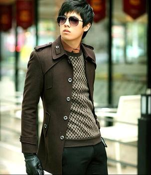 Free shipping!!!Hot sale Autumn and winter Korean men Slim wool coat thicker coat single-breasted fashion /S-3XL