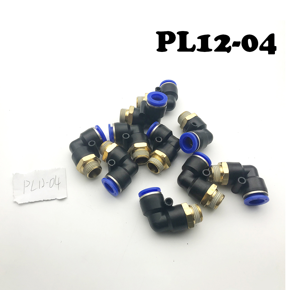 20Pcs/lot PL12-04 12mm To 1/2 BSPT Elbow Male Air Pneumatic Quick Connect jointer Connectors Fitting 12mm to 1/2 BSPP Thread Fit 20pcs lot aod4185 d4185 to 252